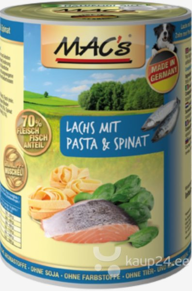 Koerakonserv Mac's Salmon with Pasta & Spinach 800 g цена и информация   Konservid koertele   kaup24.ee