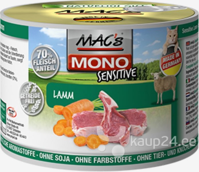 Mac's Mono Sensitive Lamb (100%) + porgandid, 400 g цена и информация | Konservid kassidele | kaup24.ee