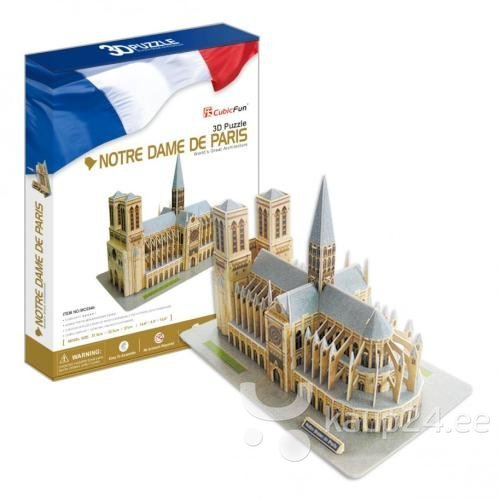 3D Пазл CubicFun Noterdamo katedraal, 74 детали цена и информация | Puzzle, mõistatused | kaup24.ee