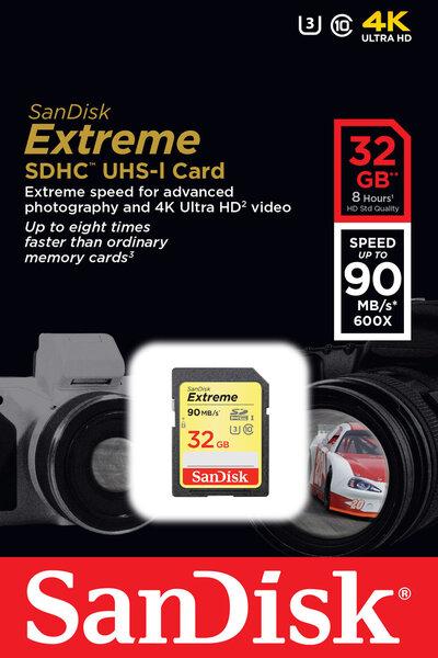 Mälukaart SANDISK 32GB Extreme SDHC Card 90MB/s Class 10 UHS-I U3 hind ja info | Mälukaardid | kaup24.ee