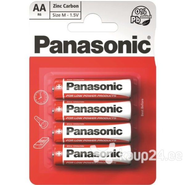 Батарейки Panasonic RED Zinc R6 (AA) 4BP M1121  цена и информация | Patareid | kaup24.ee