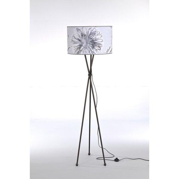 Põrandalamp HEBE, pruun/lilleline цена и информация | Põrandavalgustid | kaup24.ee