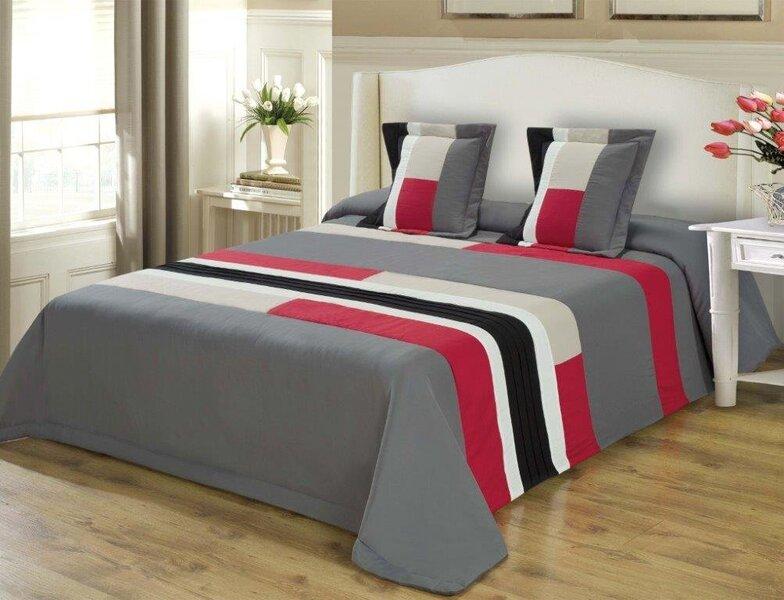 Voodikate, 240x220 cm, punane/must/hall цена и информация | Voodikatted, pleedid | kaup24.ee