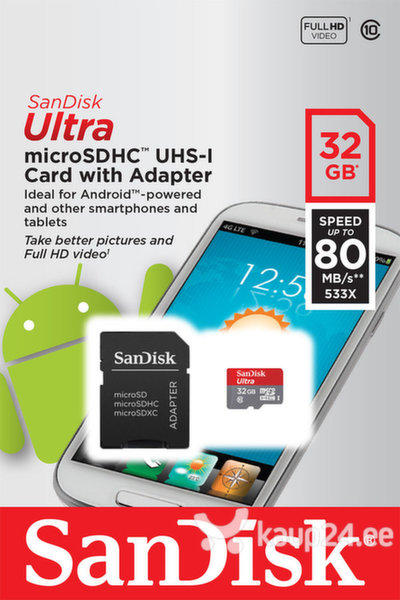 Mälukaart SANDISK Ultra Android microSDHC 32GB + SD Adapter + Android App 80MB/s Class 10 UHS-I цена и информация | Mälukaardid | kaup24.ee