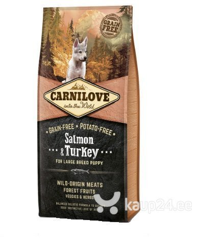 Kuivtoit koertele Carni Love Salmon & Turkey Puppy Large Breed 12kg цена и информация | Kuivtoit koertele | kaup24.ee