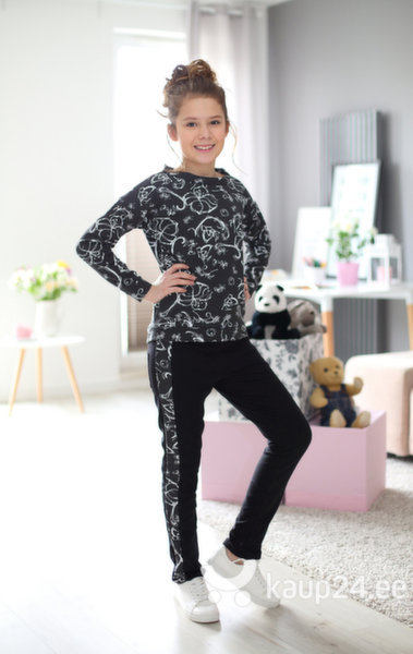 Tüdrukute dressipluus Kropek, must/valge цена и информация | Tüdrukute riided | kaup24.ee
