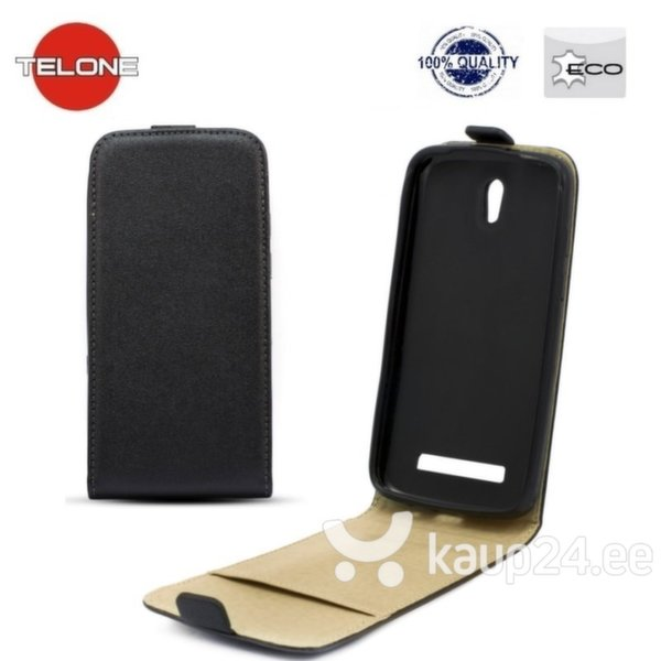 Kaitseümbris Telone Shine Pocket Slim Flip sobib Samsung Galaxy S5 Mini (G800), must цена и информация | Mobiili ümbrised, kaaned | kaup24.ee
