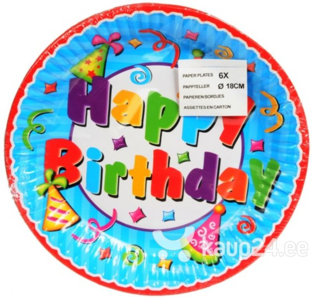 Papptaldrikud Happy Birthday, 18 cm цена и информация | Peolaua kaunistused, dekoratsioonid | kaup24.ee