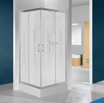 Ruudukujuline dušikabiin Sanplast TX KN/TX4b 80s, läikiv hõbedane profiil, kaunistatud klaas W14 hind ja info | Dušikabiinid | kaup24.ee