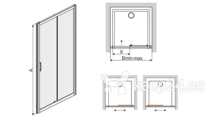 Душевая дверь в нишу Sanplast TX D2/TX5b 120s, профиль- матовый графит, декорированное стекло W15