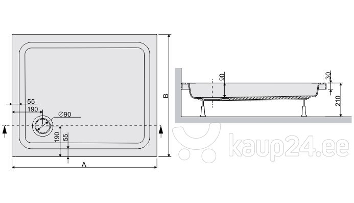 Dušialus Sanplast Free Line B/Free 80x110x5