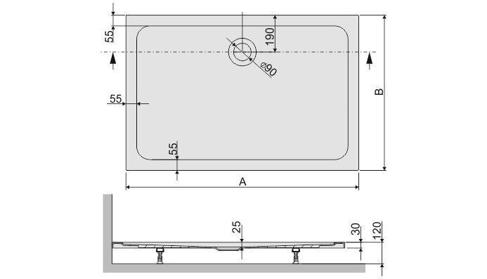 Dušialus Sanplast Free Line B/Free 80x120x2,5