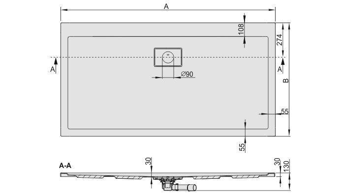 Dušialus Sanplast Space Line B/Space 80x170x3, libisemiskindla pinnaga, manhatan