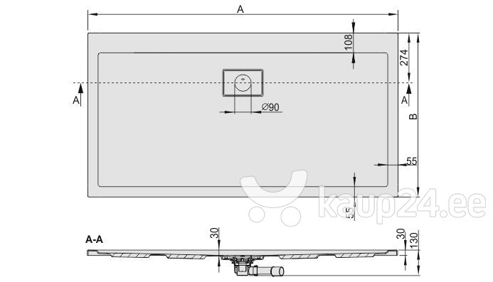 Dušialus Sanplast Space Line B/Space 90x140x3, valge