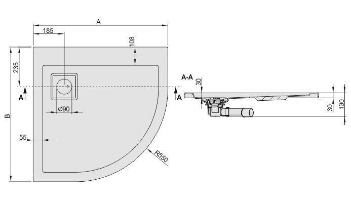 Dušialus Sanplast Space Line BP/Space 80x80x3, libisemiskindla pinnaga, manhatan