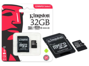 Mälukaart Kingston microSDCS 32GB, 10-klass + SD adapter