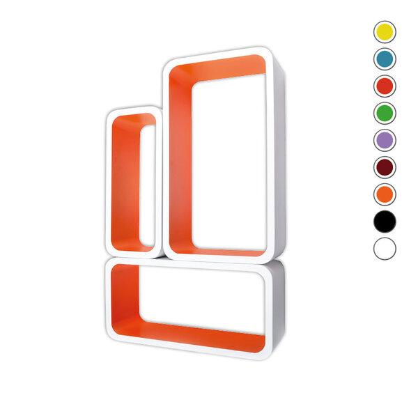 Riiulite komplekt CUBE LO88, valge/oranž hind ja info | Riiulid | kaup24.ee