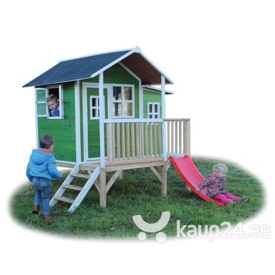 Puidust mängumaja EXIT Loft 350 veranda ja liumäega, FSC 100%, roheline