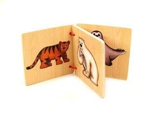 Puidust raamat PlayMe loomade kujutistega