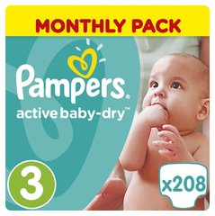 Mähkmed PAMPERS Active Baby Monthly Box suurus 3, 208tk