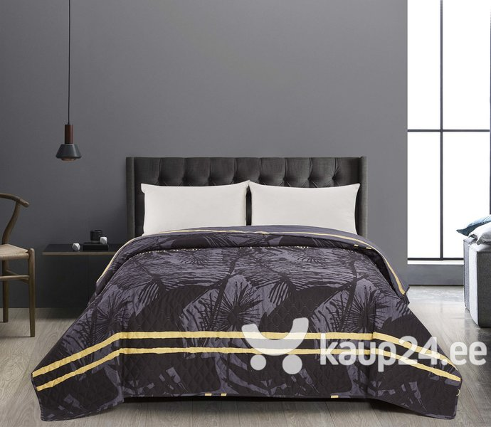 Kahepoolne voodikate Decoking Tropical Grey Black, 170x270 cm