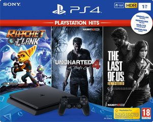 Mängukonsool Sony PlayStation 4 (PS4) Slim 1TB + Uncharted4, Ratchet & Clank, The Last Of Us hind ja info | Mängukonsoolid | kaup24.ee