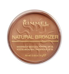 Päikesepuuder Rimmel London Natural Bronzer Waterproof SPF15 14 g, 021 Sun Light