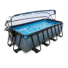 Karkassiga bassein Exit Stone katuse ja filtriga 400x200 cm, hall