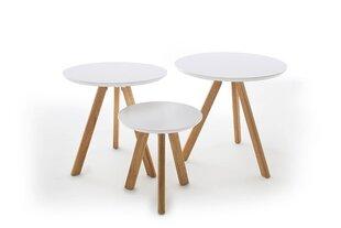 Комплект из 3 столиков Sinio, коричневый/белый цена и информация | Комплект из 3 столиков Sinio, коричневый/белый | kaup24.ee