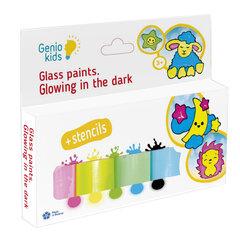 Pimedas helendavad värvid klaasi dekoreerimiseks Genio Kids hind ja info | Kunstitarbed, voolimise tarvikud | kaup24.ee
