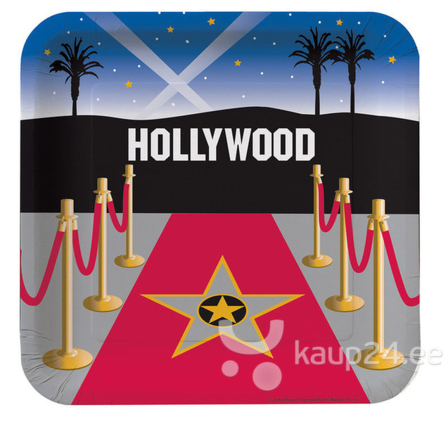 Pabertaldrikud Hollywood, 8 tk. цена и информация | Peolaua kaunistused, dekoratsioonid | kaup24.ee