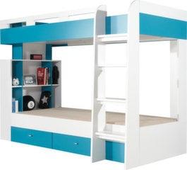 Kahekorruseline voodi Mobi 19, 200x90 cm, valge/sinine