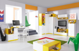 Lastetoa mööblikomplekt Mobi D, valge/kollane