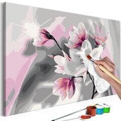 Сделай сам картина на холсте Магнолия (Серый фон) 100х100 см цена и информация | Картины, живопись  | kaup24.ee