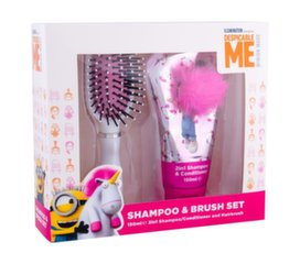 Komplekt Minions Unicorns tüdrukutele: šampoon ja palsam 2in1 150 ml + juuksehari