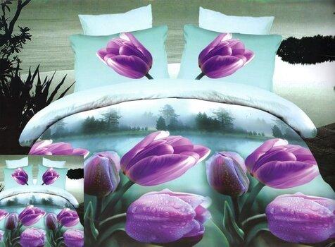 3D voodipesukomplekt 3 osaline lillad tulbid sinise