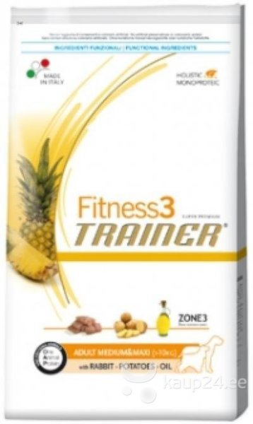 Сухой корм Trainer Fitness3 No Grain Mini Adult Rabbit and Potatoes цена и информация | Kuivtoit koertele | kaup24.ee