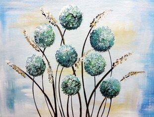 Maalitud pilt Sinised Lilled, paksu alusraamiga
