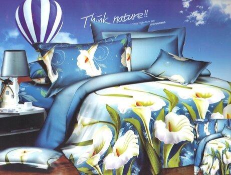 3D voodipesukomplekt 4 osaline valged liiliad sini