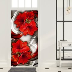 Fototaustapilt uksele - Photo wallpaper - Abstraction and red flowers I