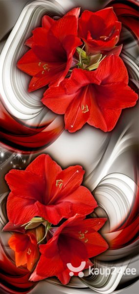 Fototaustapilt uksele - Photo wallpaper - Abstraction and red flowers I tagasiside
