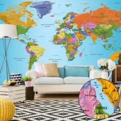 XXL fototapeet - World Map: Colourful Geography II hind ja info | Fototapeedid | kaup24.ee