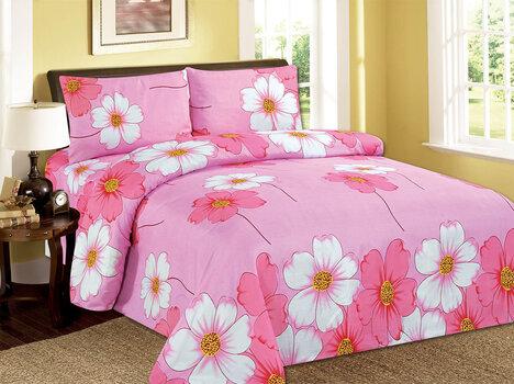 3D voodipesukomplekt 4 osaline valged ja roosad li