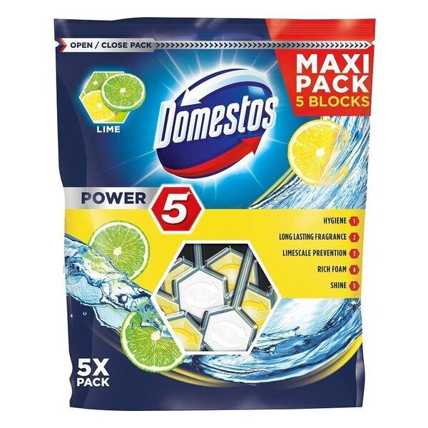 WC-poti värskendaja Domestos Power 5 Lime, 5x55 g