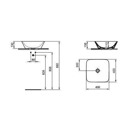 Pinnapealne valamu Ideal Standard Connect Air, 40x40 cm