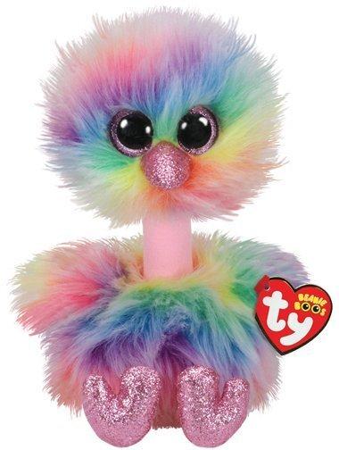 Plüüsist mänguasi TY Beanie Boos ASHA, värviline jaanalind, 23 cm, 36448
