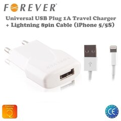 Laadija Forever 1A USB + Lightning 8pin kaabel Apple iPhone 5/5S/5C​