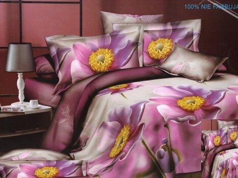 3D voodipesukomplekt 3 osaline lillad lilled lillal