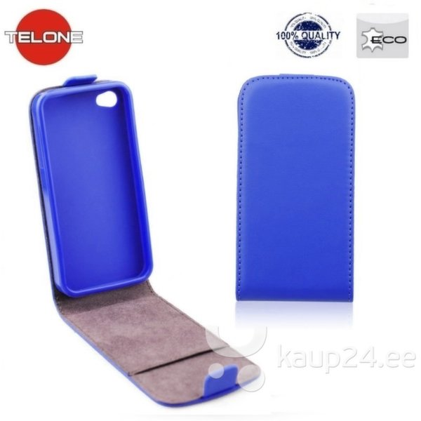 Telone Flexi Slim Flip Sony Xperia E4g вертикальная книжка-чехол в силиконовом корпусе Синий цена и информация | Mobiili ümbrised, kaaned | kaup24.ee