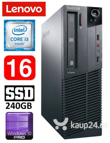 Lauaarvuti Lenovo ThinkCentre M82 SFF i3-3220 16GB 240SSD DVD WIN10Pro
